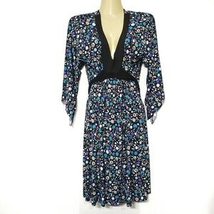 Bisou Bisou Abstract Floral Dress Blue Purple